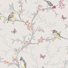 Phoebe Dove Grey Birds Butterflies Floral Feature Wallpaper Holden 98081