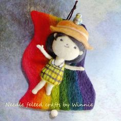 Over the rainbow wall hanging pulley music box Needle felted handmade 3D wool doll OOAK by FunFeltByWinnie on Etsy