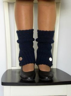 Crochet spats, legwarmers, boot cuffs with button in navy blue.. $34.00, via Etsy.