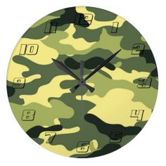Green Camouflage Camo texture with Numbers Wall Clocks #Green #Camouflage #Camo #texture #Clock