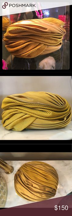 Christian Dior Gold yellow Silk Satin Turban Hat Yellow/ gold vintage satin turban pillbox hat  Perfect condition , some label stitches are coming off but overal gorgeous Christian Dior Accessories Hats