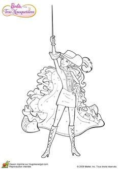 Dessin à colorier de Barbie dans sa tenue de mousquetaire et levant son épée en l'air