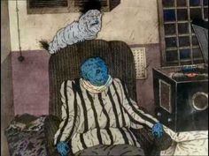 Hen, his wife  Animation of a bizarre and surreal world; the domestic life of a fat man, his wife, a  chicken, and their child/pet slug-like creature.   Directed by Igor Kovalyov.