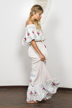 """""""Seeker Lover Keeper Nursing Dress"""" Embroidered Nursing Maxi Dress - Cross Stitch Fillyboo - Boho inspired maternity clothes online, maternity dresses, maternity tops and maternity jeans. Maternity Clothes Online, Maternity Tops, Maternity Dresses, Maternity Jeans, Summer Holiday Dresses, White Dress Summer, Summer Dresses, Nursing Dress, New Dress"""