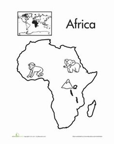 Let's learn the seven continents! Make it fun with a coloring page. Color in the monkey, elephant and mountain. If your child knows something else that you can find in Africa, she can draw it herself. Want more continents coloring pages? Geography For Kids, Geography Lessons, Teaching Geography, World Geography, Geography Worksheets, Geography Activities, School Worksheets, Kindergarten Worksheets, Worksheets For Kids