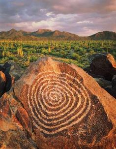 Petroglyphs made by the Hohokam people can be seen in Saguaro National Park in Tucson, Ariz