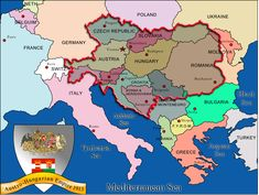 Overlay map of the Austro-Hungarian Empire onto the current map of Europe today.