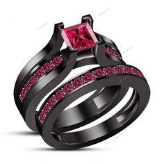 1.59CT Princess Cut Pink Sapphire 14k Black Gold Fn 925 Silver Bridal Ring Set…