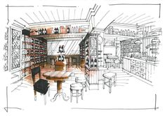 Interior Sketches - Wine cellar / retail unit interior sketch.