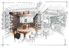 Interior Sketches - Wine cellar / retail unit interior sketch.