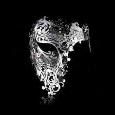 Men Womens Half Skull Phantom Venetian Filigree Metal Masquerade Halloween Mask   eBay