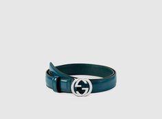 Gucci - cinturón de piel pulida con hebilla de G entrelazada 370717DKE0N4910