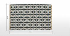 Etruria geweven vloerkleed 120 x 180cm, asgrijs en chartreusegeel | made.com