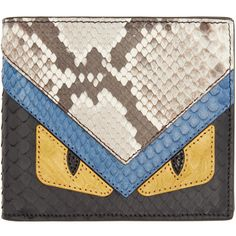 db707c53332d Fendi Multicolor Leather Monster Wallet ($1,200) ❤ liked on Polyvore  featuring men's fashion, men's bags, men's wallets, mens leather bifold  wallet, mens ...