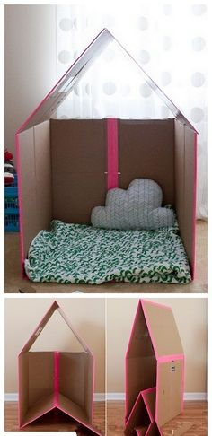 Cardboard house design...Maddy would love this!