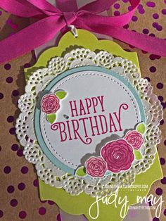 Stampin' Up! Gift Box with Foil Frenzy Specialty DSP & Happy Birthday Gorgeous for CASE-ing the Catty - Judy May, Just Judy Designs