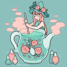 The tea witch at her work💕 Doodles Kawaii, Cute Kawaii Drawings, Arte Do Kawaii, Kawaii Art, Art Anime, Anime Kunst, Cartoon Kunst, Cartoon Art, Aesthetic Anime