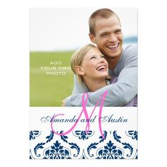 This DealsBlue Damask Monogram Photo Wedding Invitationsyou will get best price offer lowest prices or diccount coupone