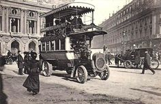 autobus in 1900 Paris, hand-made colors - origin track was lost - Paris France, Paris 1900, Old Paris, Vintage Paris, French Vintage, Old Pictures, Old Photos, Vintage Photographs, Vintage Photos