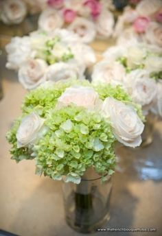 Bright Green Hydrangea and White Rose Bridesmaid Bouquets by The French Bouquet - Chris Humphrey Photographer