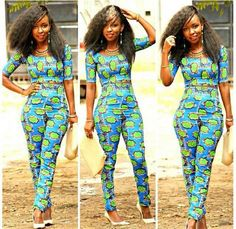 African Print Slim pants and Crop Top Set - The African Clothing