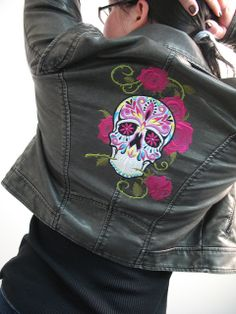 Machine embroidered sugar skull jacket