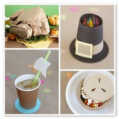 I like the pilgrim hat crayon cup idea for a kids table!