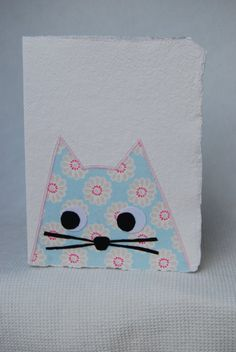 Cat Card  Pink and Blue Clarke & Clarke Fabric by inkydingo