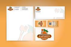 Per Esperti in catering S.r.l. oltre alla progettazione del logo abbiamo realizzato l'immagine coordinata comprendente biglietti da visita con sistema di Qr Code, la carta intestata, la busta da lettere.