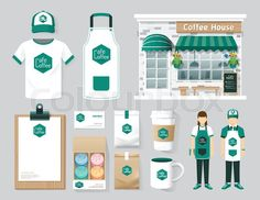 "Buy the royalty-free Stock vector ""Vector restaurant cafe set shop front design, flyer, menu,"" online ✓ All rights included ✓ High resolution vector fil. Shop Interior Design, Cafe Design, Flyer Design, Layout Design, Café Branding, Logo Café, Polo T Shirt Design, Coffee House Cafe, Cafe Uniform"