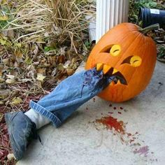 Must do this Halloween. Carve a sharp-toothed, pointed eye pumpkin; stuff old sock & place in shoe, put in old jeans leg; stuff in pumpkin mouth, splatter with ketchup...