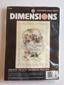 """United Hearts Wedding Record Cross Stitch Kit w Roses by Dimensions 5"""" x 7""""  