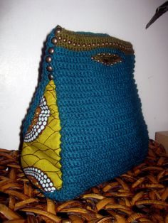 Studded Crochet Bag w/ African Material by InIVibez on Etsy, $98.00