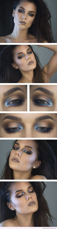 Linda Hallberg dark makeup and blue accent