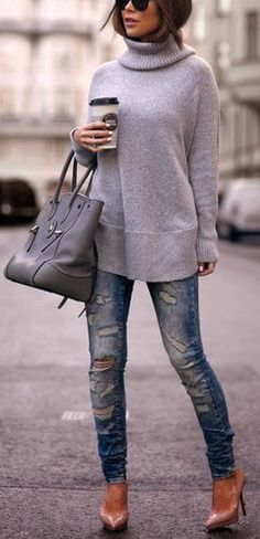 #fall #fashion / gray turtleneck knit + ripped denim