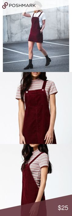 kendall & kylie corduroy overall skirt maroon S Super cute overall skirt / Kendal & Kylie brand for PacSun / perfect for layering for fall / perfect wine colored / size small Kendall & Kylie Skirts