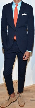 Traditional Navy Suit & Blue Oxford Shirt Injected With Orange Colour Tie, Beige Oxford Shoes