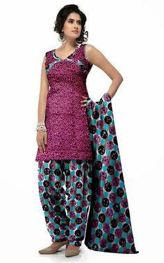 USD 29.49 Pink Cotton Printed Panjabi Salwar Kameez 28975