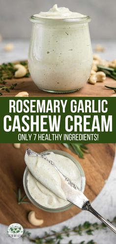 7 Bewertungen · 10 Minuten · Vegan Gluten free · Ergibt 1 cup · This Rosemary Garlic Cashew Cream is so delicious, you'll want to put it on anything and everything! A perfect plant-based dip, spread, or dressing. Dairy Free Recipes, Raw Food Recipes, Cashew Recipes, Gluten Free, Pasta Recipes, Keto Recipes, Fromage Vegan, Vegan Sauces, Cashew Cream