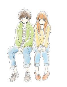 (@ituka_e)..anime..kawaii..illustration..couple..cute..