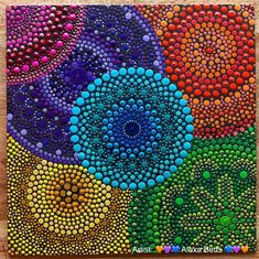 I might do some dot art while painting my bus. It will be extremely colorful and I plan on using acrylic paint. Dot Art Painting, Painting Patterns, Stone Painting, Rock Painting, Mandala Canvas, Mandala Artwork, Mandalas Painting, Mandalas Drawing, Mandala Rocks