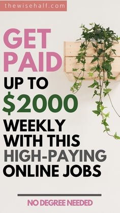 Get the best high paying jobs online with this list Start working from home at your own convenient time No degree needed Perfect for students stayathome parents retirees. Earn Money From Home, Earn Money Online, Online Jobs, Way To Make Money, Money Fast, Online Careers, Online Income, Kids Online, Online Courses