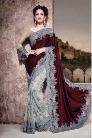 Net and Satin Designer Party Wear Saree In Brown and Grey Colour
