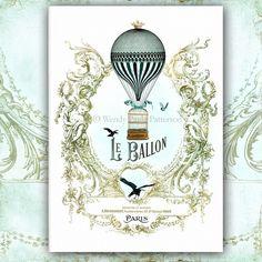 hot air balloon vintage style card for nursery
