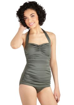 e2a95b70590a1 Bathing Beauty One Piece in Sage. It s ModCloth s ultimate swimsuit - now  in soft sage