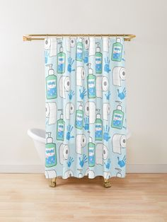 'Toilet Paper and Hand Sanitizer Pattern' Shower Curtain by ironydesigns Custom Shower Curtains, Cool Patterns, Hand Sanitizer, Toilet Paper, Tub, Hands, Inspired, Bathtubs, Toilet Paper Roll