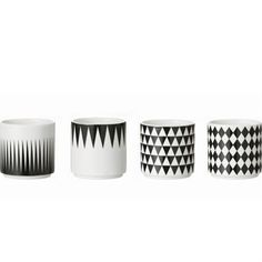 Ferm Living Geometry Espresso Cups: These gorgeous monochrome Geometry Espresso Cup from Ferm Living are perfect for your daily coffee boost. Set of four, each one in a different design, they are made of porcelain and are stackable. Espresso Cups Set, Coffee Cups, Tea Cups, Decoration Originale, Cupping Set, Danish Design, White Porcelain, All Modern, Ideas