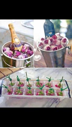 Flower ice cube decorations and champagne chiller duo Flower Ice Cubes, Deco Champetre, Snacks Für Party, Party Drinks, High Tea, Party Planning, Party Time, Tea Party, Fancy Party