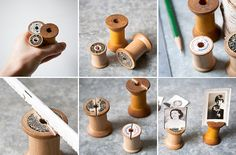 Photos and old wooden spools