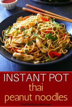 This easy Instant Pot Thai Peanut noodles dish is a healthy one-pot recipe. The recipe calls for regular pasta which is cooked together with a homemade Thai peanut sauce with a distinctly tangy, sweet, spicy flavor. This dish can be made vegetarian by om Best Instant Pot Recipe, Instant Pot Dinner Recipes, One Pot Recipes, Recipes With Fish Sauce, Dishes Recipes, Family Recipes, Instant Pot Chinese Recipes, Instant Pot Pasta Recipe, Instant Pot Pressure Cooker